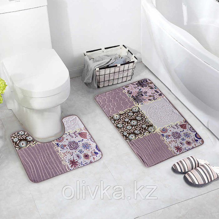 "Набор ковриков для ванны и туалета 2 шт 40х50, 50х80 см ""Коллаж"" цвет серо-розовый"