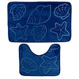 Набор ковриков для ванны и туалета «Ракушки», объёмные, 2 шт: 40×50, 50×80 см, цвет синий, фото 2