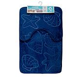 Набор ковриков для ванны и туалета «Ракушки», объёмные, 2 шт: 40×50, 50×80 см, цвет синий, фото 7