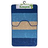 """Набор ковриков для ванны и туалета 2 шт 39х48, 48х76 см """"Полосатый, галька"""" цвет синий, фото 6"""