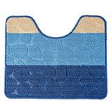 """Набор ковриков для ванны и туалета 2 шт 39х48, 48х76 см """"Полосатый, галька"""" цвет синий, фото 7"""