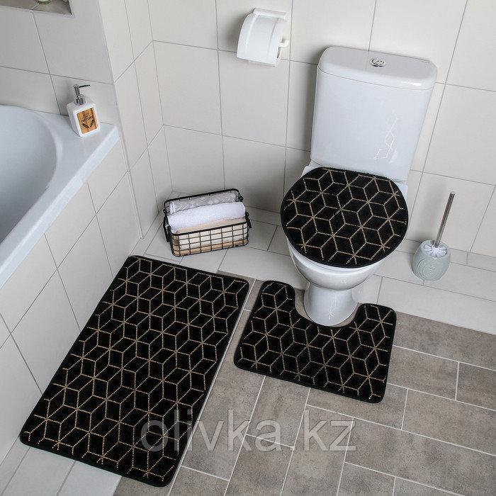 "Набор ковриков для ванны и туалета 3 шт 35х40, 40х50, 50х80 см ""Геометрик"" цвет чёрный"