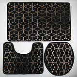 "Набор ковриков для ванны и туалета 3 шт 35х40, 40х50, 50х80 см ""Геометрик"" цвет чёрный, фото 2"