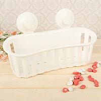 Держатель для ванных принадлежностей на вакуммных присосках, 30×12×17 см, цвет белый