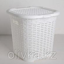 Корзина универсальная с крышкой DDSTYLE «Плетёная», 15 л, 31×30×30,5 см, цвет белый