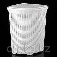 Корзина для белья угловая с крышкой Виолет «Ротанг», 60 л, 40×40×58 см, цвет белый