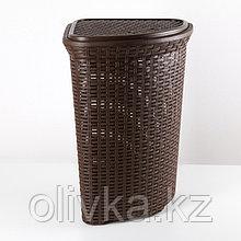 Корзина для белья угловая с крышкой Виолет «Ротанг», 60 л, 40×40×58 см, цвет коричневый