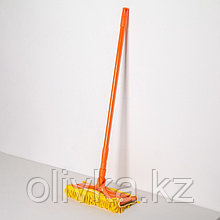 Швабра плоская Доляна, телескопическая стальная ручка 80-128 см, насадка из микрофибры 30×13 см
