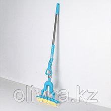 Швабра PVA со складным отжимом Доляна, телескопическая ручка 96-120 см, насадка 27×6 см, цвет МИКС