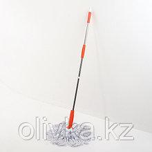 Швабра с отжимом Доляна, стальная ручка 122 см, насадка х/б, цвет МИКС