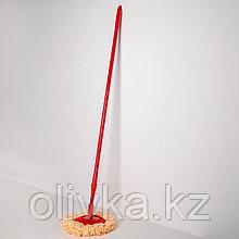Швабра плоская Доляна, телескопическая ручка 116-212 см, насадка из микрофибры 26 см