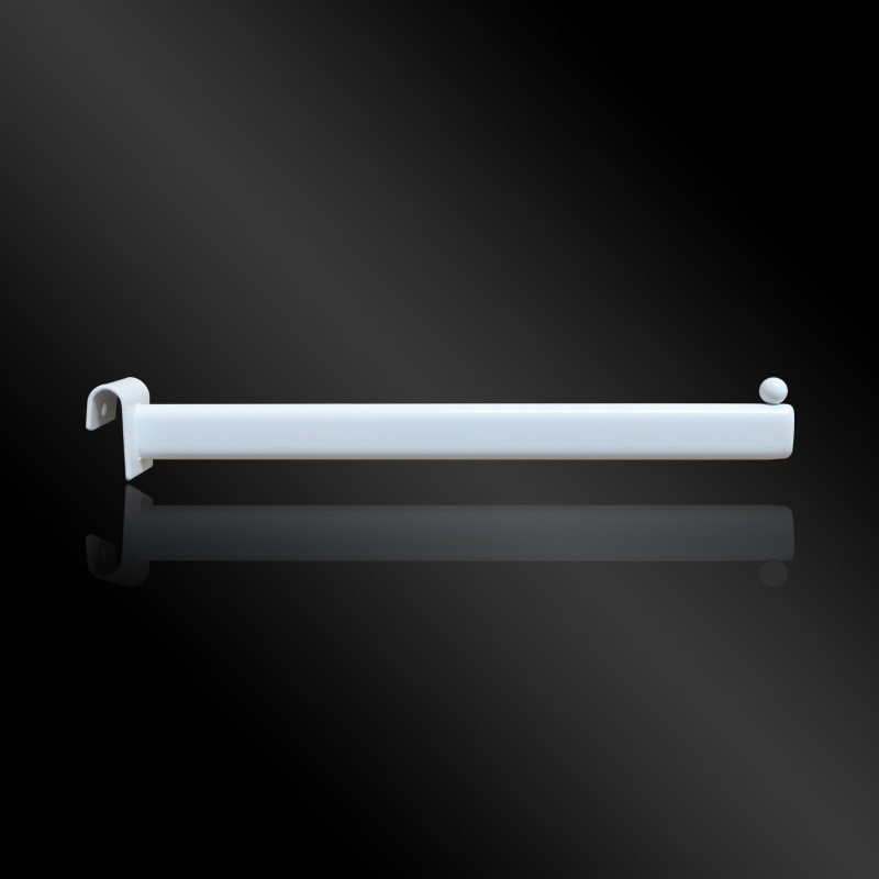 Кронштейн на овальную трубу белый, овальная труба, L=350mm, S=15*30mm, прямой, 1 шар, T=2mm