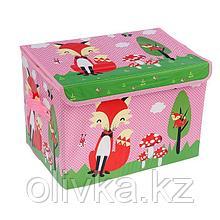 Короб для хранения с крышкой «Лиса на поляне», 40×26×26 см, цвет розовый