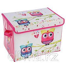 Короб для хранения с крышкой «Весенние совушки», 40×26×26 см, цвет розовый