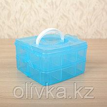 Бокс для хранения, 2 яруса, 12 отделений, 16×15×9 см, цвет МИКС