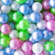 Набор шаров 500 шт, цвета: перламутрово - зелёный, малиновый, морковный, голубой