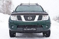 Зимняя заглушка решетки радиатора и переднего бампера Nissan Navara 2005-2010, фото 2