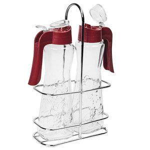 Набор для соусов на подставке SARINA [3 предмета, стекло] (Красный)