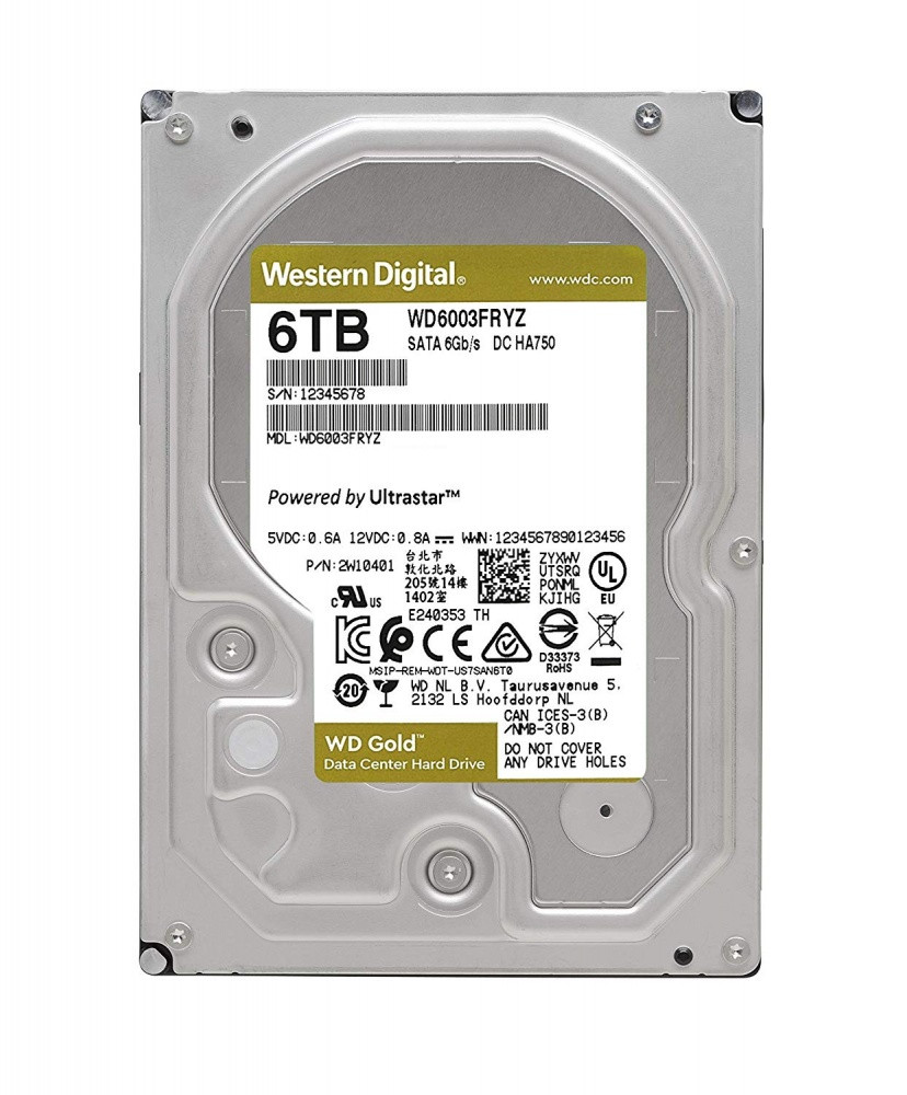 Жесткий диск HDD  6Tb Western Digital GOLD WD6003FRYZ
