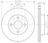 Тормозные диски Nissan Micra K11 (00-03, передние, вентилируемые, TRW)