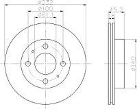 Тормозные диски  Nissan Sunny (B14) (96->,передние, Optimal,D232)