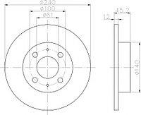 Тормозные диски Nissan Sunny (N13) (86-91, передние, Optimal, D240)