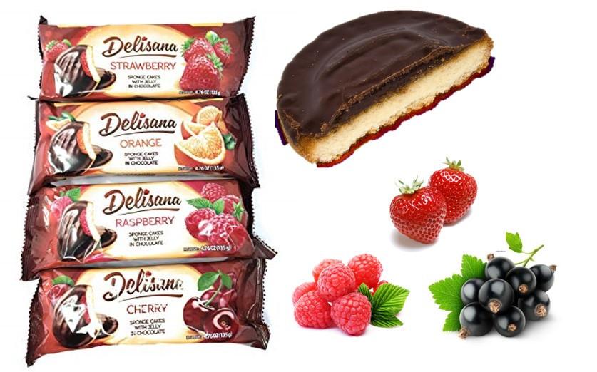 Delisana Jafa Cakes бисквит в шоколаде 135гр (Клубника/ Малина/ Апельсин/ Черная смородина - разные вкусы)