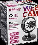 Defender 63110 C-110 Веб-камера 0.3 МП, подсветка, кнопка фото, фото 5