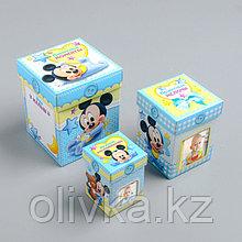 Памятные коробочки для новорожденных, Микки Маус, 3 шт, с местом под фото