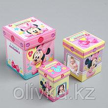 Памятные коробочки для новорожденных, Минни Маус, 3 шт, с местом под фото