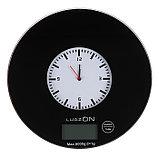 Весы кухонные LuazON LVK-703, электронные, до 5 кг, встроенные часы, чёрные, фото 2