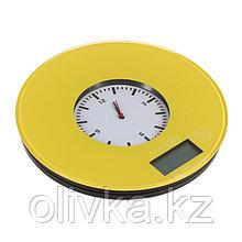 Весы кухонные LuazON LVK-508, электронные, до 5 кг, встроенные часы, жёлтые