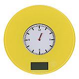 Весы кухонные LuazON LVK-508, электронные, до 5 кг, встроенные часы, жёлтые, фото 2