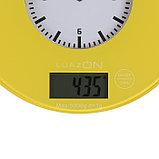 Весы кухонные LuazON LVK-508, электронные, до 5 кг, встроенные часы, жёлтые, фото 3