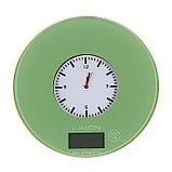 """Весы кухонные LuazON LVK-703, электронные, до 5 кг, встроенные часы, цвет """"хаки"""", фото 2"""