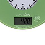 """Весы кухонные LuazON LVK-703, электронные, до 5 кг, встроенные часы, цвет """"хаки"""", фото 3"""