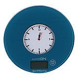 Весы кухонные LuazON LVK-508, электронные, до 5 кг, встроенные часы, тёмно-синие, фото 2
