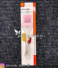Кисточка силиконовая, большая. Материал: Силикон/Пластик. Цвет: Розовый/Полупрозрачный.