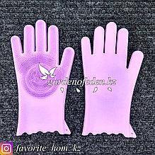 Перчатки для мытья посуды, с чистящей щеткой. Материал: Силикон. Цвет: Розовый.