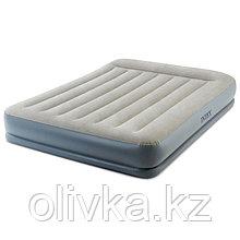 Кровать надувная Pillow Rest Queen,152 х 203 х 30 см, с встроенным насосом, с подголовником, 64118 INTEX