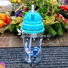Поилка детская, с трубочкой и ремешком, с декором. Материал: Пластик. Цвет: Голубой/Прозрачный. Объем: 500мл.
