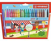 Фломастеры STABILO Power, смываемые, с усиленным наконечником, 24 цвета