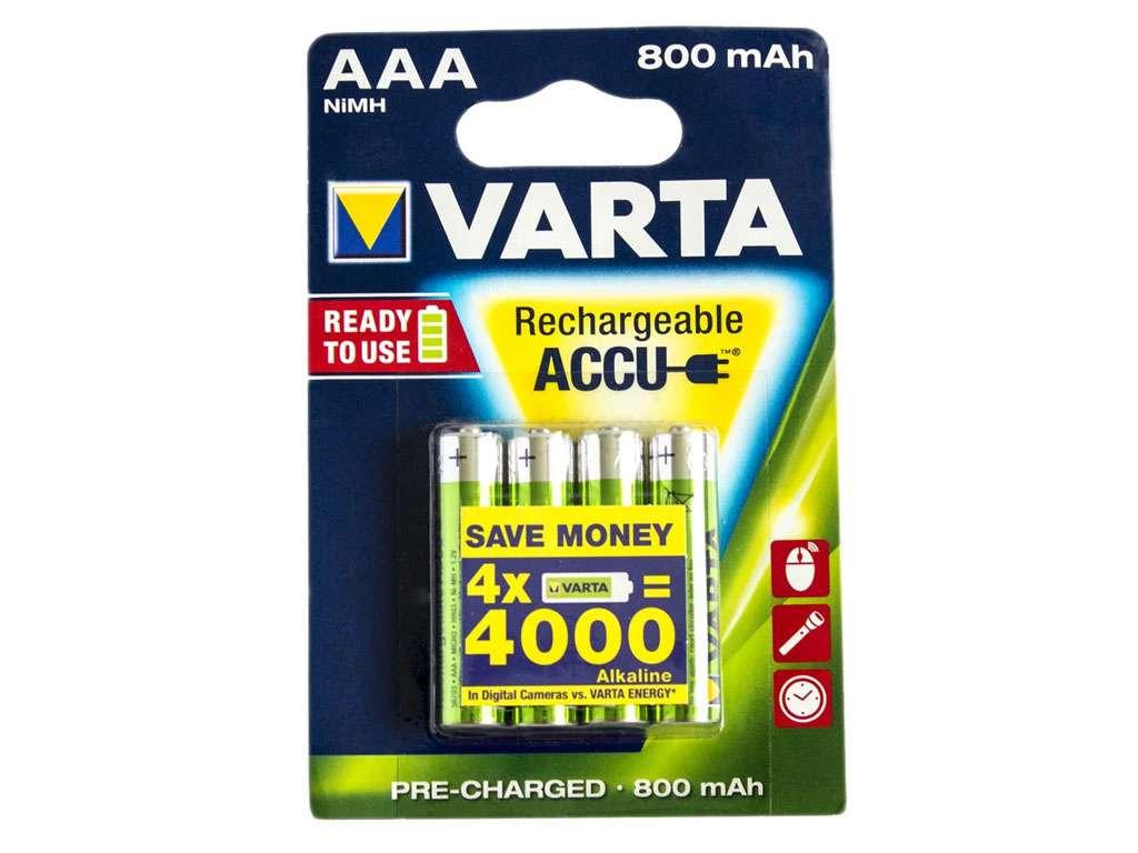 Аккумулятор Varta ААА (мизинчиковые) 800 mAh (4 шт/упак)