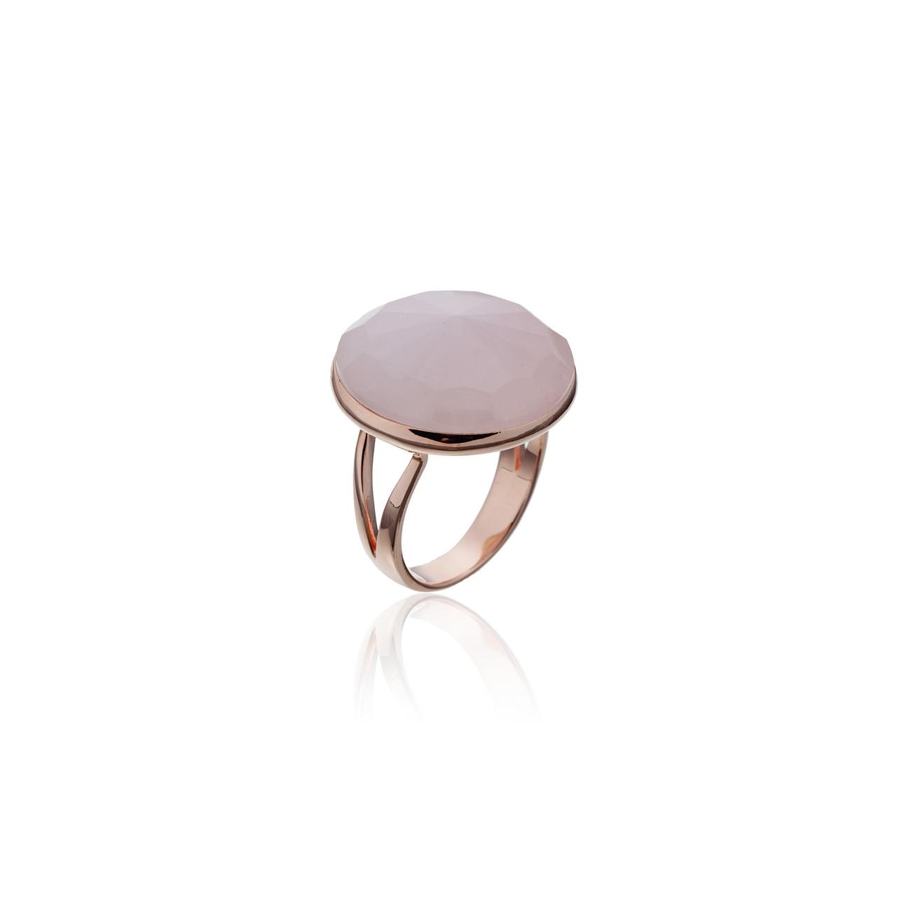 Серебряное кольцо с натуральными камнями Brosh Jewellery (Серебро 925) Золочение, вставка Розовый Кварц.
