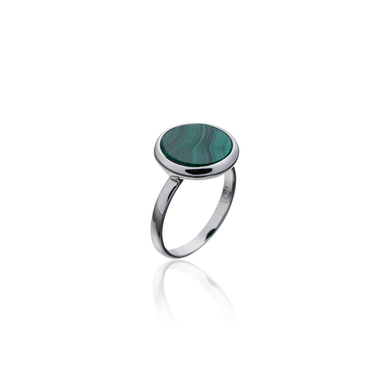 Серебряное кольцо с натуральными камнями Brosh Jewellery (Серебро 925) покрытие родий, вставка Малахит.