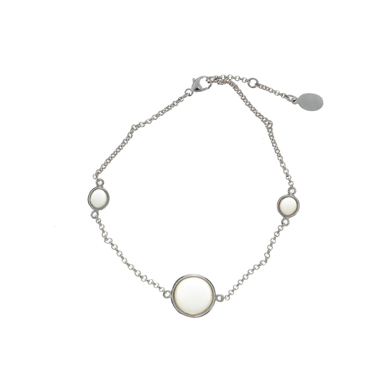 Серебряный браслет с натуральными камнями Brosh Jewellery (Серебро 925) покрытие родий, вставка Кварц