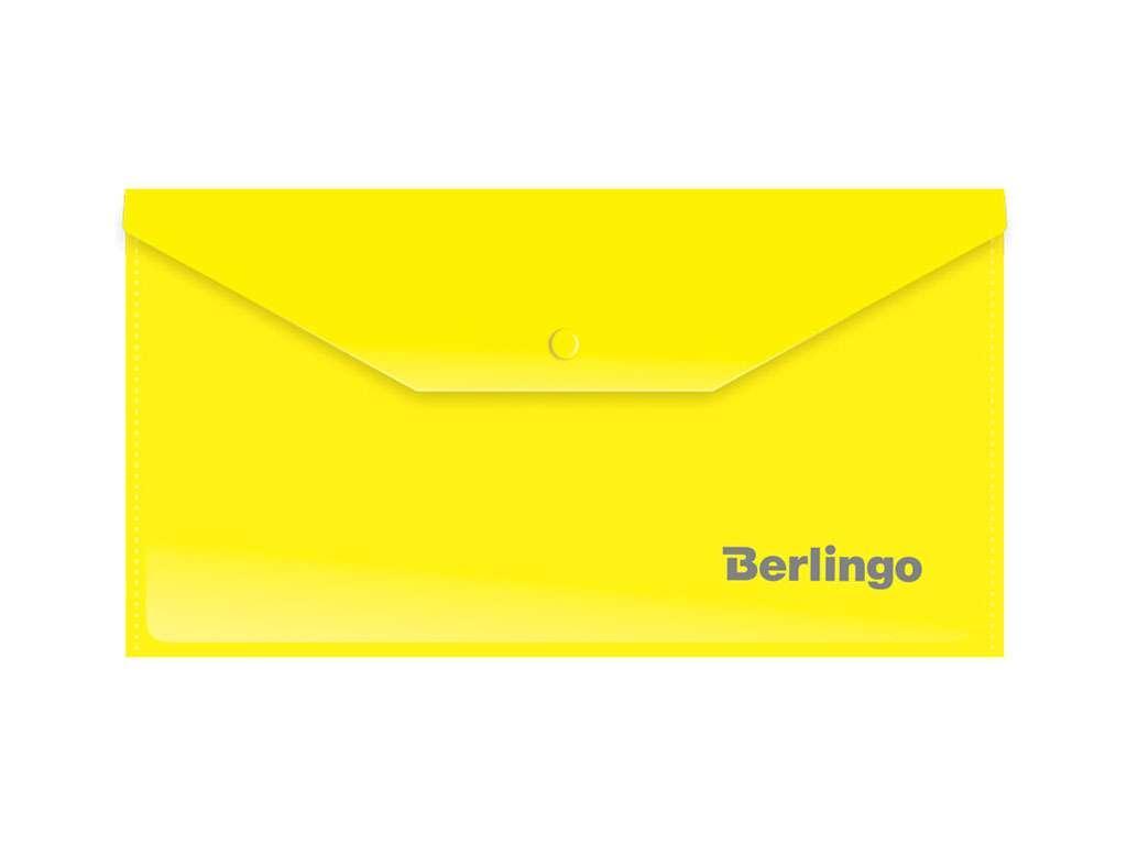 Папка-конверт на кнопке Berlingo, C6, 180 мкм, желтая