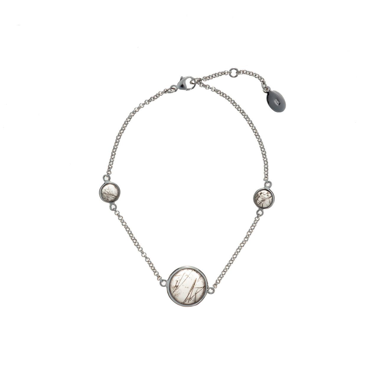 Серебряный браслет с натуральными камнями Brosh Jewellery (Серебро 925) покрытие родий, вставка Рутил