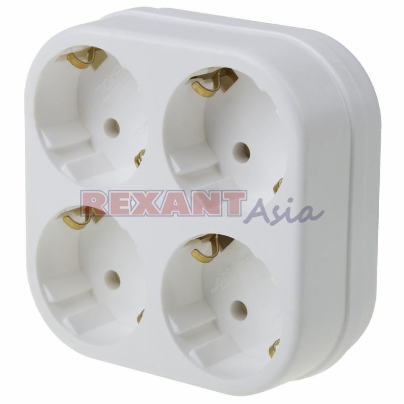 Четверник электрический с заземлением, белый (11-1073 ), Rexant