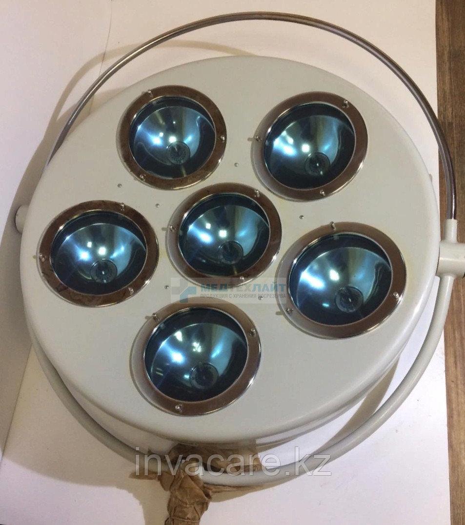 Светильник хирургический стационарный регулирующийся с аварийным питанием 6-ти рефлекторный (СРА-6)